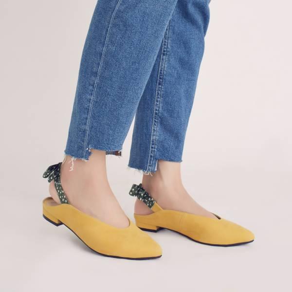 後繫帶穆勒!結花小禮物尖頭鞋 黃 全真皮 MIT 【Major Pleasure】-向日葵 草木系 平底鞋,穆勒鞋,尖頭鞋,MIT,手工鞋
