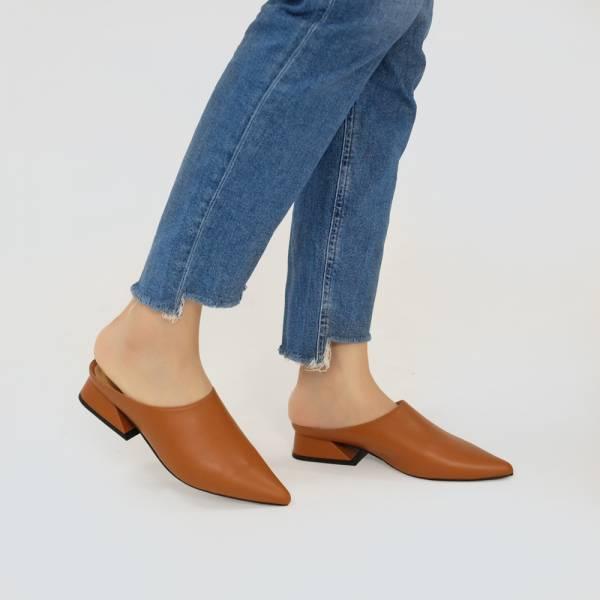 微正式!簡單純色調尖頭穆勒鞋 橘咖 全真皮MIT【Major Pleasure】-燃橙色  牛奶糖色 MIT,真皮鞋,穆勒鞋,好穿鞋,拖鞋
