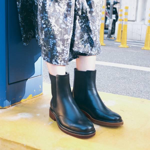 研究室的選品・西倫敦女孩!筆直切爾西靴 黑 真皮靴 【Major Pleasure】-紳黑木