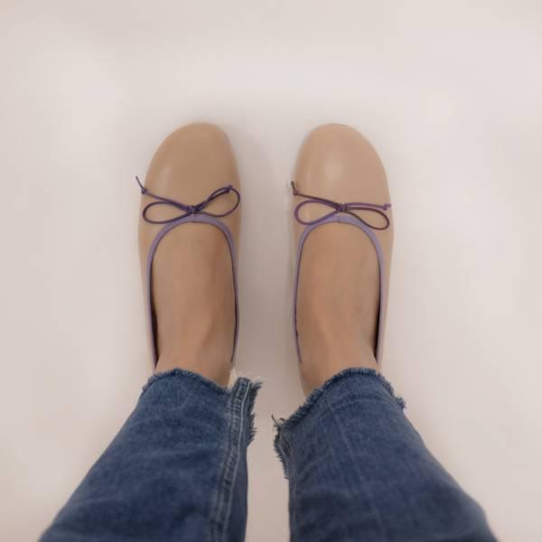 漸層調色盤!斜方頭寬楦娃娃鞋 裸粉 全真皮MIT 【Major Pleasure】-恍紫漸層 mit,真皮鞋,芭蕾舞鞋,平底鞋,娃娃鞋
