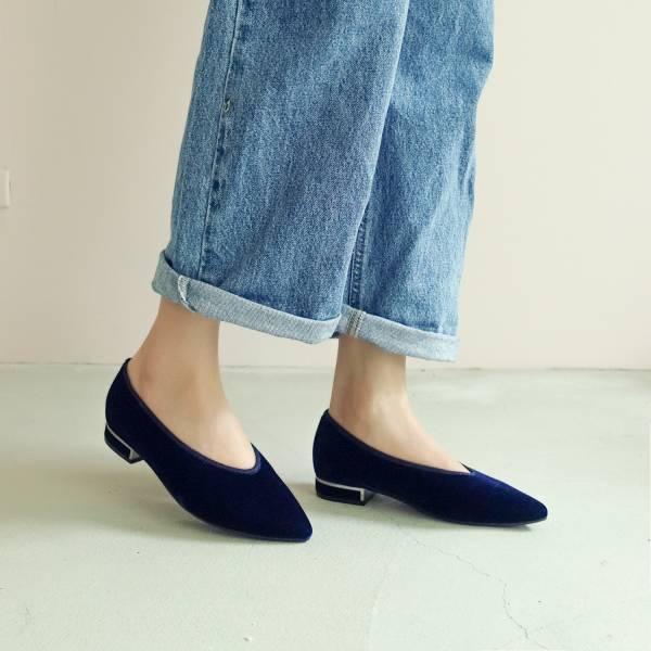 日本天鵝絨!曖曖光澤優雅尖頭鞋 藍 MIT 【Major Pleasure】-午夜藍 平底鞋,尖頭鞋,,MIT,手工鞋,Vintage,復古,絲絨,天鵝絨