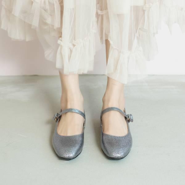 修飾微方頭!小女孩假期瑪麗珍鞋 銀 全真皮 MIT 【Major Pleasure】-珠寶盒 平底鞋,瑪莉珍鞋,MIT,手工鞋,Mary Jane