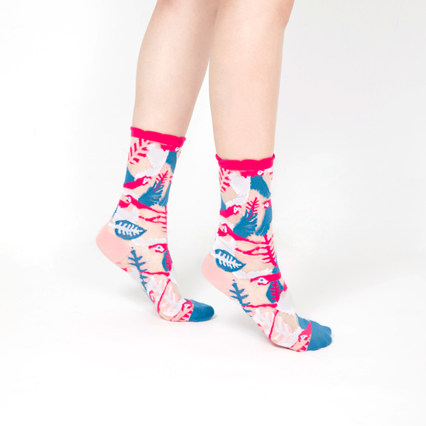sheer socks透紗襪・天空系列_南法天堂鳥(桃紅邊)_鸚鵡透紗中筒襪・PAPERSELF mit,短襪,棉襪,+10