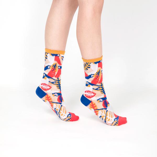 sheer socks透紗襪・天空系列_蘇格拉底小鎮(咖啡色邊)_鸚鵡透紗中筒襪・PAPERSELF mit,短襪,棉襪,+10