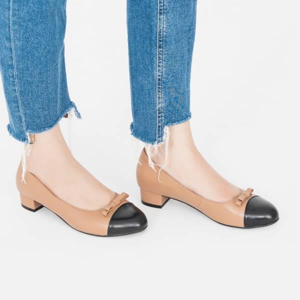 皮革結花!雙層夾心低跟小圓頭鞋 咖黑 全真皮MIT 【Major Pleasure】-焦煤 mit,真皮鞋,跟鞋,低跟鞋,通勤鞋