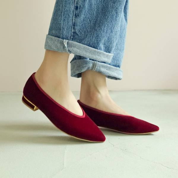 日本天鵝絨!曖曖光澤優雅尖頭鞋 紅 MIT 【Major Pleasure】-真紅 平底鞋,尖頭鞋,,MIT,手工鞋,Vintage,復古,絲絨,天鵝絨