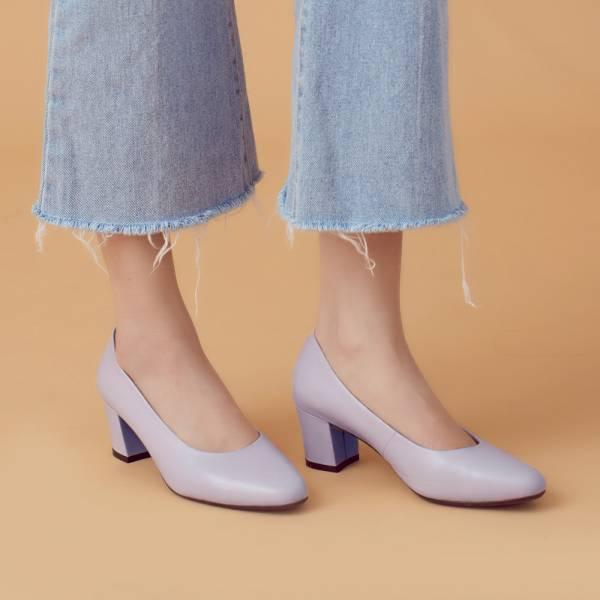 微整形效果!通勤OK小方頭中跟鞋 全真皮 MIT 【Major Pleasure】-礦紫 真皮,MIT,跟鞋,方頭鞋,中跟鞋,通勤鞋
