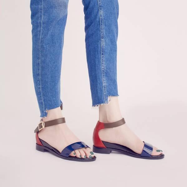 研究室的選品・三種皮料!一字內增高涼鞋 藍紅 全真皮  【Major Pleasure】-深藍×紅 真皮,涼鞋,內增高,一字涼鞋