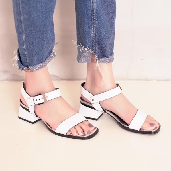 研究室的選品・微金屬光彩!一字方頭低跟涼鞋 白 全真皮 【Major Pleasure】-白色 涼鞋,拖鞋.真皮鞋