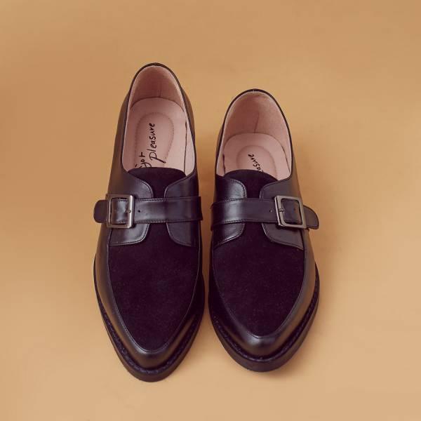 改良開襟式!不磨腳軟芯雙色孟克鞋 黑 全真皮 MIT 【Major Pleasure】-黑 真皮,孟克鞋,紳士鞋,MIT,牛津鞋