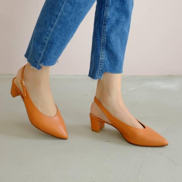 柔軟親膚革!調整比例U口尖頭鞋 橘 全真皮 MIT 【Major Pleasure】- β胡蘿蔔素 手工鞋,跟鞋,中跟鞋,真皮鞋