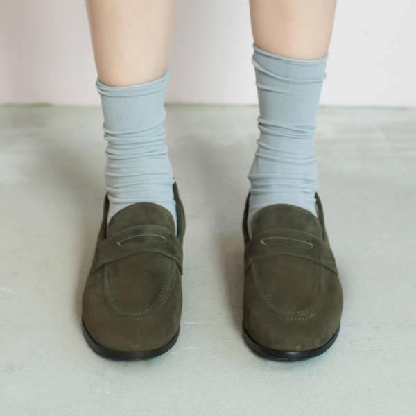 休閒直套式!月球漫步便士樂福鞋 綠 全真皮 MIT 【Major Pleasure】-濃蔥色 草木系 平底鞋,樂福鞋,MIT,手工鞋,Penny Loafer,真皮,復古,絲絨,