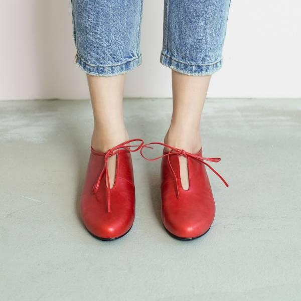 軟軟枕頭足感!舒緩U口綁帶鞋 紅 全真皮 MIT 【Major Pleasure】-紅胭脂 平底鞋,,MIT,手工鞋,真皮鞋,出國好穿鞋