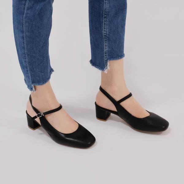 復古大人瑪莉珍!方頭中跟後涼鞋 黑 全真皮MIT【Major Pleasure】-黑煤色 MIT,真皮,中跟鞋,跟鞋,涼鞋,瑪莉珍鞋,MARYJANES