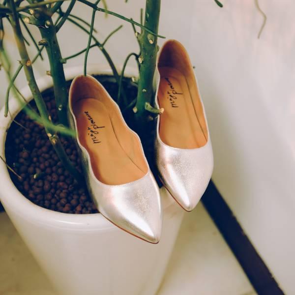 特調花色!雲朵小波浪尖頭鞋 珍珠果銀 全真皮 MIT 【Major Pleasure】-珍珠果銀 MIT,真皮,尖頭鞋,平底鞋