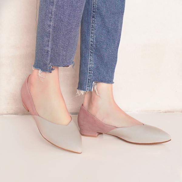 顯瘦修修腳!優雅絲絨雙色平底鞋 全真皮 MIT -裸×粉 MIT,真皮,平底鞋,好穿鞋,舒適鞋,尖頭