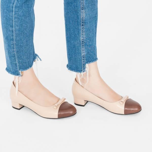 皮革結花!雙層夾心低跟小圓頭鞋 粉棕 全真皮MIT 【Major Pleasure】-炎釉 mit,真皮鞋,跟鞋,低跟鞋,通勤鞋