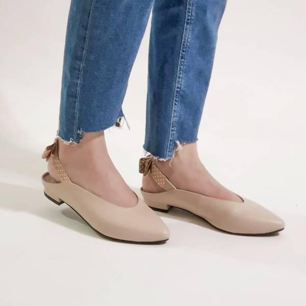 後繫帶穆勒!結花小禮物尖頭鞋 米 全真皮 MIT 【Major Pleasure】-麥芽圓餅  羊皮 平底鞋,穆勒鞋,尖頭鞋,MIT,手工鞋