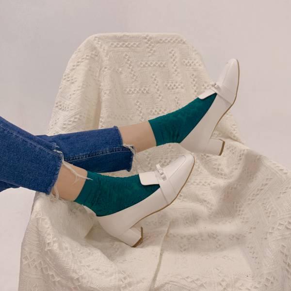 復古大方頭!優雅結花方塊粗跟鞋 白 全真皮 MIT 【Major Pleasure】-白 復古,方頭,跟鞋,MIT,真皮鞋
