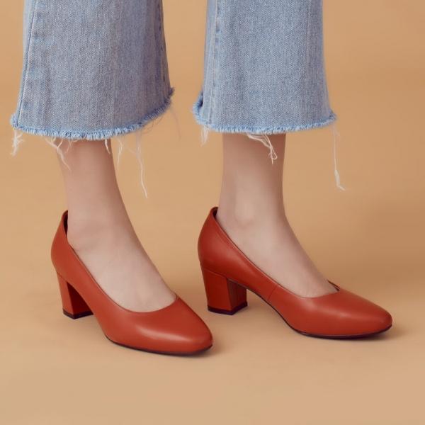 微整形效果!通勤OK小方頭中跟鞋 橘 全真皮 MIT 【Major Pleasure】-熱帶橙  真皮,MIT,跟鞋,方頭鞋,中跟鞋,通勤鞋