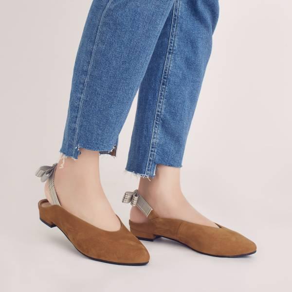 後繫帶穆勒!結花小禮物尖頭鞋 棕 全真皮 MIT 【Major Pleasure】-焦栗子   大地色 草木系 平底鞋,穆勒鞋,尖頭鞋,MIT,手工鞋