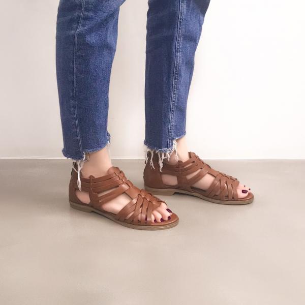 研究室的選品・手工編織!層次森林後拉鍊涼鞋 棕 全真皮 【Major Pleasure】-雀茶 涼鞋,真皮,高跟,真皮鞋