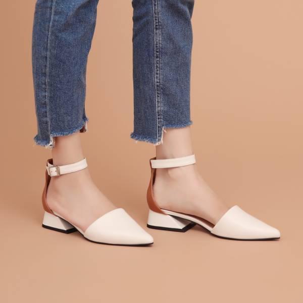 大容量尖頭鞋!異色皮革繫帶跟鞋 白 全真皮MIT【Major Pleasure】-白絹色
