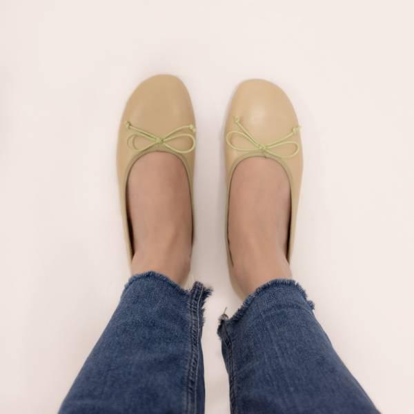 漸層調色盤!斜方頭寬楦娃娃鞋 杏 全真皮MIT 【Major Pleasure】-淺蜜瓜色 mit,真皮鞋,芭蕾舞鞋,平底鞋,娃娃鞋