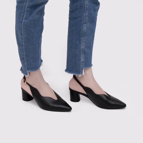 不分腳型!莉莉花瓣顯瘦中跟鞋 黑 全真皮 MIT 【Major Pleasure】-黑玉色 MIT,真皮鞋,中跟鞋,好穿鞋,涼鞋