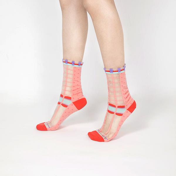 sheer socks透紗襪・幾何系列_鮭魚粉_點點格子透紗中筒襪・PAPERSELF mit,短襪,棉襪,