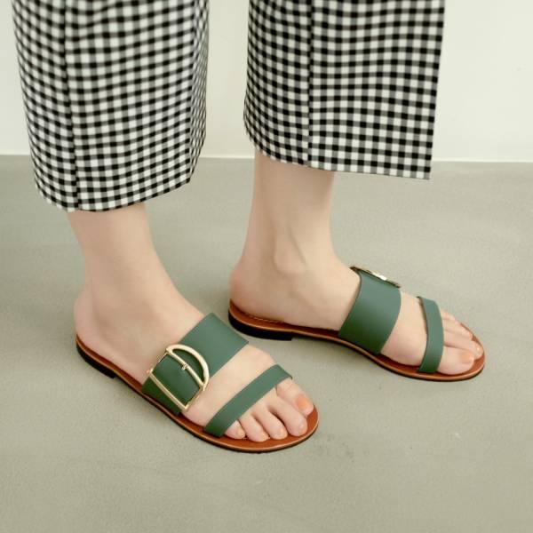 蜜蠟光澤!越穿越亮皮革涼拖鞋 全真皮 MIT -海綠 MIT,真皮,度假,拖鞋,涼鞋