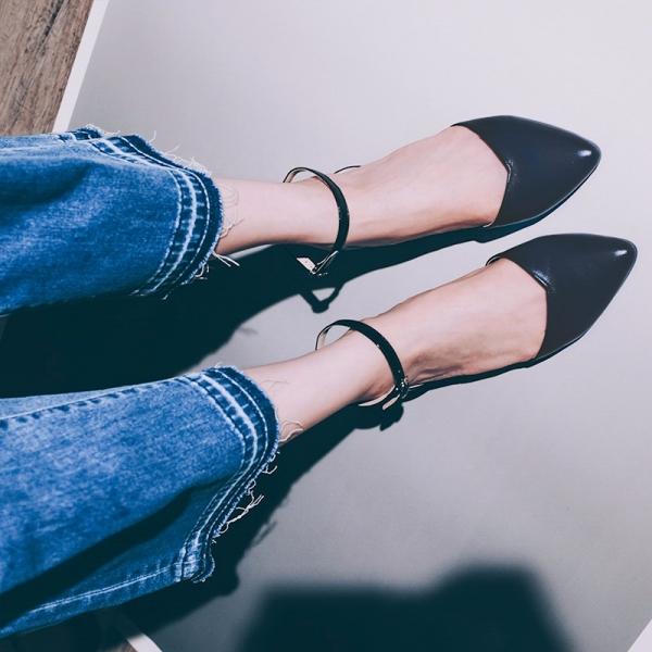 優雅日常鞋!倒V字顯瘦足踝繫帶鞋 黑藍 全真皮 MIT 【Major Pleasure】-黑藍 MIT,真皮,平底鞋,尖頭鞋