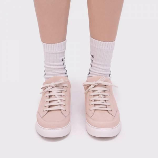 皮革小尾巴!手製純皮休閒小白鞋 粉 3M防水 MIT【Major Pleasure】-防水皮革櫻粉