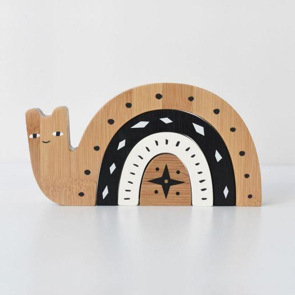 Wee gallery竹製玩具-疊疊蝸牛(附收納袋)