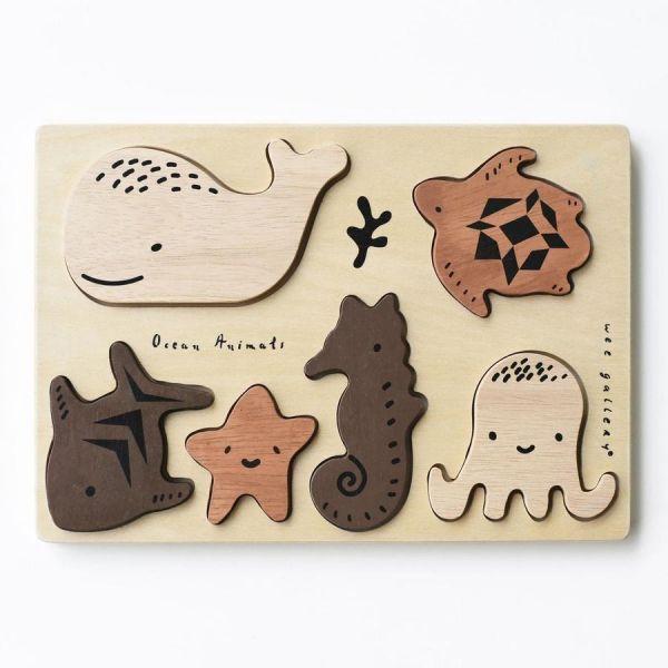 Wee gallery木製配對動物拼圖-海洋動物 木製.動物.配對拼圖.大豆油墨.邏輯思考.五感刺激.育兒發展.可愛動物