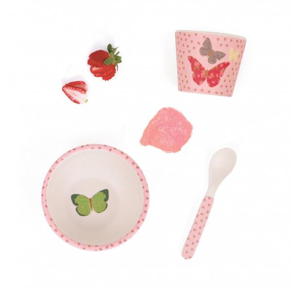 Love Mae寶寶學習組-繽紛蝴蝶 Love mae,兒童餐具, 安全,竹纖維,環保, 無毒,餐盤,餐碗, 副食品