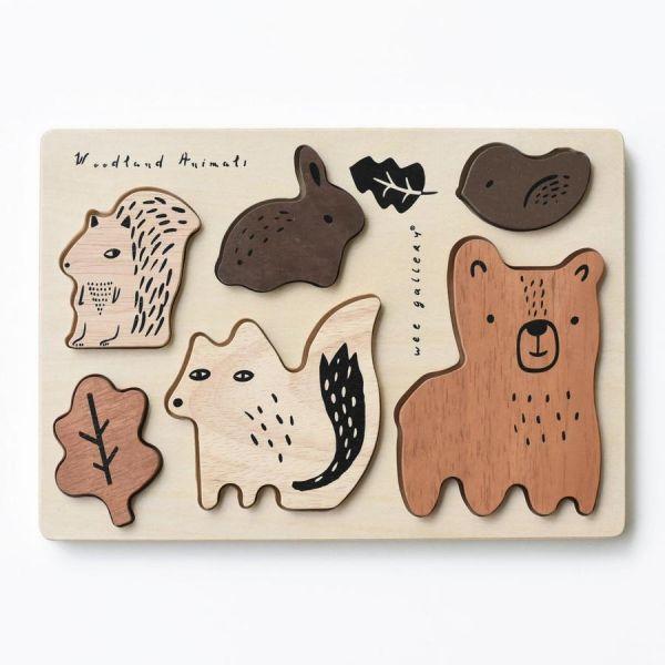 Wee gallery木製配對動物拼圖-森林動物 木製.動物.配對拼圖.大豆油墨.邏輯思考.五感刺激.育兒發展.可愛動物
