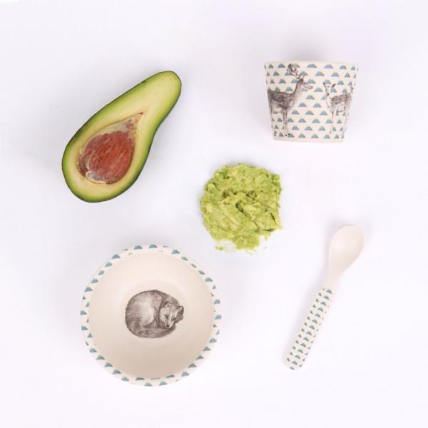 Love Mae寶寶三件組-小狐狸 Love mae,兒童餐具, 安全,竹纖維,環保, 無毒,餐盤,餐碗, 副食品