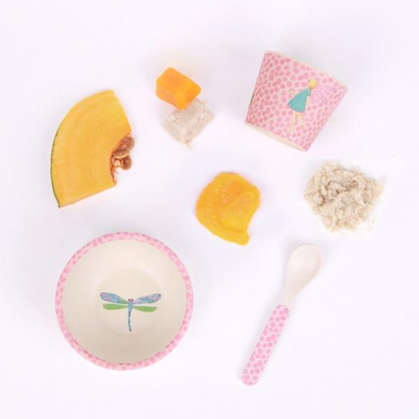 Love Mae寶寶三件組-花園仙子 Love mae,兒童餐具, 安全,竹纖維,環保, 無毒,餐盤,餐碗, 副食品