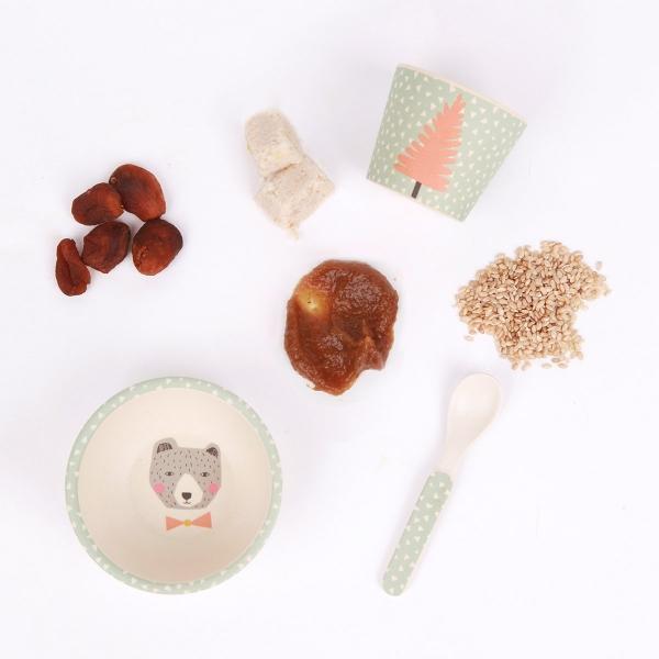 Love Mae寶寶三件組-可愛小熊 Love mae,兒童餐具, 安全,竹纖維,環保, 無毒,餐盤,餐碗, 副食品