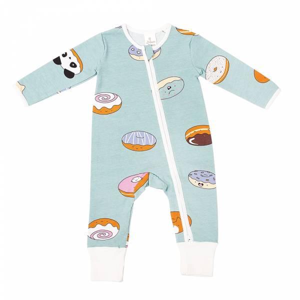 有機棉雙拉鍊長袖連身衣-熊貓甜甜圈(粉綠) 有機棉, 天然, 無毒 過敏 有機, 異位性皮膚炎, 新生兒, 嬰兒, 新生兒衣物, 嬰幼兒, 包屁衣, 竹纖維, 透氣, 汗疹