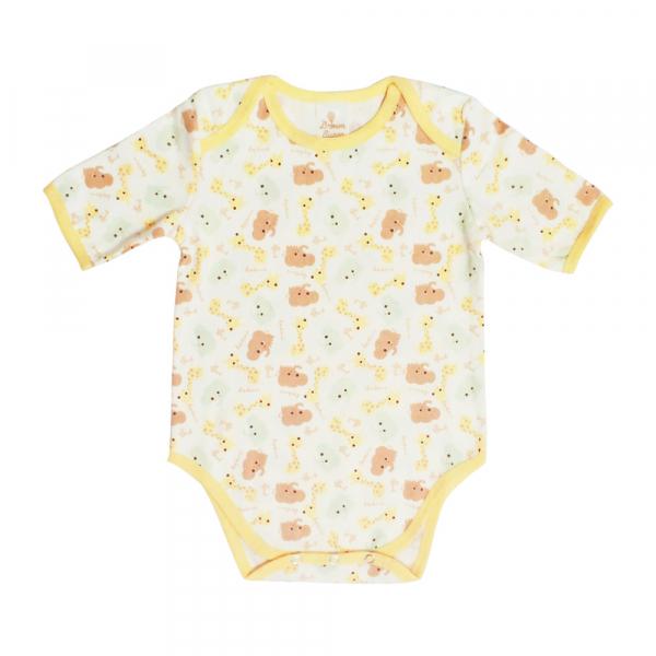有機棉粉嫩彩色短袖包屁衣-長頸鹿 有機棉, 天然, 無毒 過敏 有機, 異位性皮膚炎, 新生兒, 嬰兒, 新生兒衣物, 嬰幼兒, 包屁衣, 竹纖維, 透氣, 汗疹