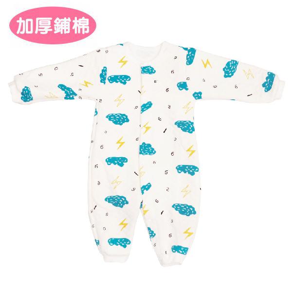加厚鋪棉連身衣-閃電雲 有機棉, 天然, 無毒 過敏 有機, 異位性皮膚炎, 新生兒, 嬰兒, 新生兒衣物, 嬰幼兒, 包屁衣, 竹纖維, 透氣, 汗疹