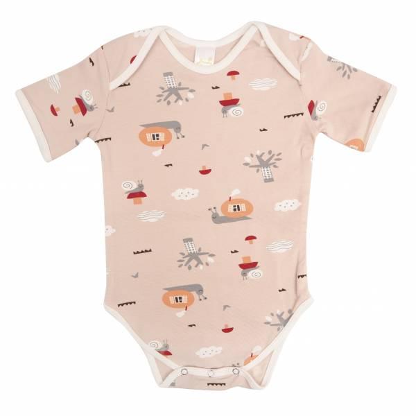 有機竹纖維粉嫩彩色短袖包屁衣-蝸牛天空 有機棉, 天然, 無毒 過敏 有機, 異位性皮膚炎, 新生兒, 嬰兒, 新生兒衣物, 嬰幼兒, 包屁衣, 竹纖維, 透氣, 汗疹