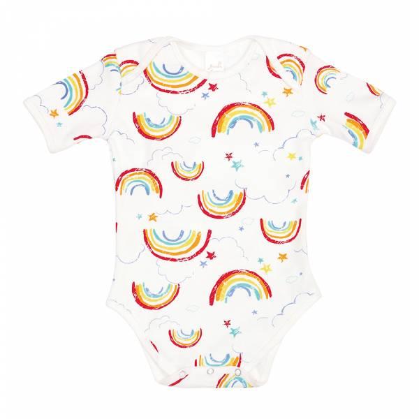 有機棉粉嫩彩色短袖包屁衣-Rainbow 有機棉, 天然, 無毒 過敏 有機, 異位性皮膚炎, 新生兒, 嬰兒, 新生兒衣物, 嬰幼兒, 包屁衣, 竹纖維, 透氣, 汗疹