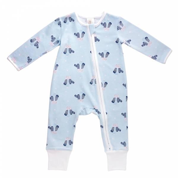 有機竹纖維雙拉鍊長袖連身衣-藍色仙人掌 有機棉, 天然, 無毒 過敏 有機, 異位性皮膚炎, 新生兒, 嬰兒, 新生兒衣物, 嬰幼兒, 包屁衣, 竹纖維, 透氣, 汗疹