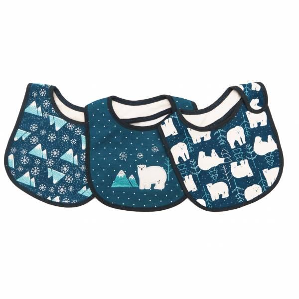 有機棉口水巾三入組-深藍色北極熊