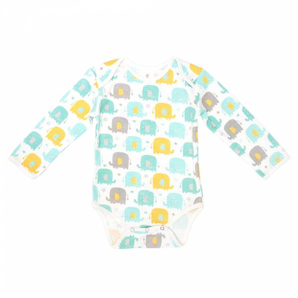 有機棉長袖包屁衣-大象樂園 有機棉, 天然, 無毒 過敏 有機, 異位性皮膚炎, 新生兒, 嬰兒, 新生兒衣物, 嬰幼兒, 包屁衣, 竹纖維, 透氣, 汗疹