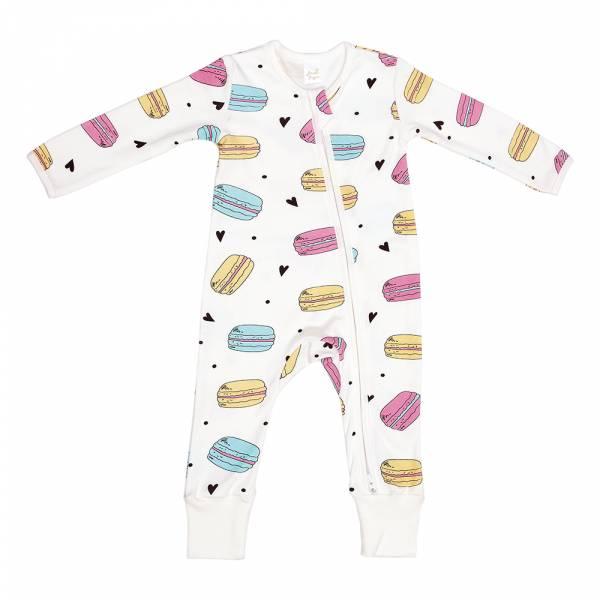 有機棉雙拉鍊長袖連身衣-馬卡龍 有機棉, 天然, 無毒 過敏 有機, 異位性皮膚炎, 新生兒, 嬰兒, 新生兒衣物, 嬰幼兒, 包屁衣, 竹纖維, 透氣, 汗疹