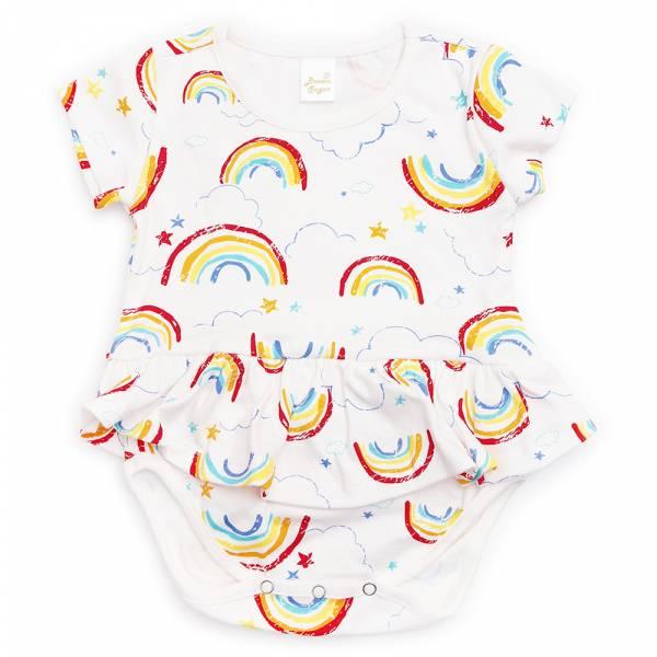 有機棉粉嫩彩色洋裝式包屁衣-Rainbow 有機棉, 天然, 無毒 過敏 有機, 異位性皮膚炎, 新生兒, 嬰兒, 新生兒衣物, 嬰幼兒, 包屁衣, 竹纖維, 透氣, 汗疹